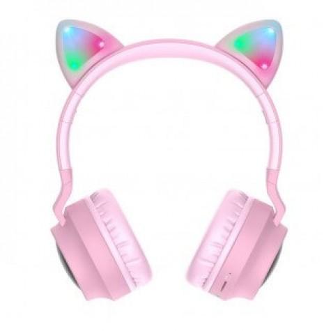 Hoco W27 Cat Ear Wireless Pink Headphones
