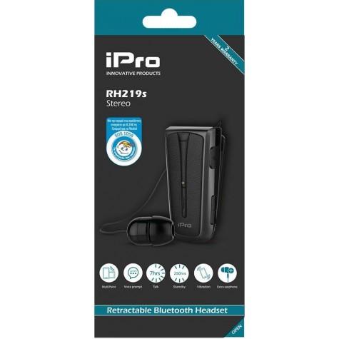 Στερεοφωνικό Ακουστικό Bluetooth iPro RH219s Retractable με Δόνηση Μαύρο
