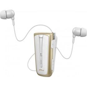 Στερεοφωνικό Ακουστικό Bluetooth iPro RH219s Retractable με Δόνηση Λευκό Χρυσό