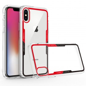 Θήκη Silicone Frame/Transparent Acrylic Back Hybrid Mobile Cover για Huawei P20 - Κόκκινη/Μαύρη