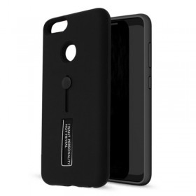 Θήκη Silicone Vennus Ring Finger Stand BackCover black για Huawei P20