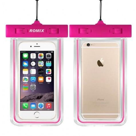 Αδιάβροχη Θήκη Κινητής Συσκευής Romix σε ροζ χρώμα