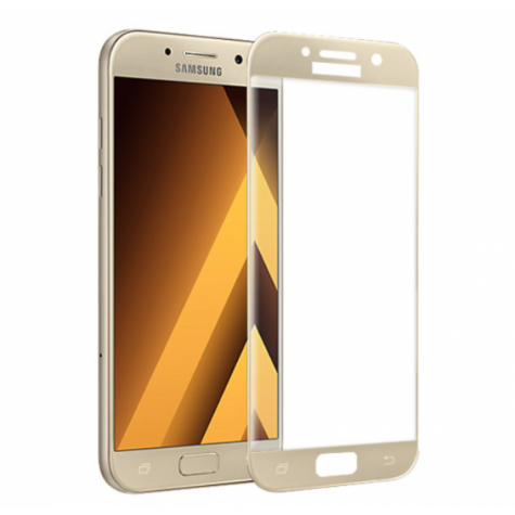 Samsung A5 2017 Gold Fullface Tempered Glass 9H Προστασία Οθόνης