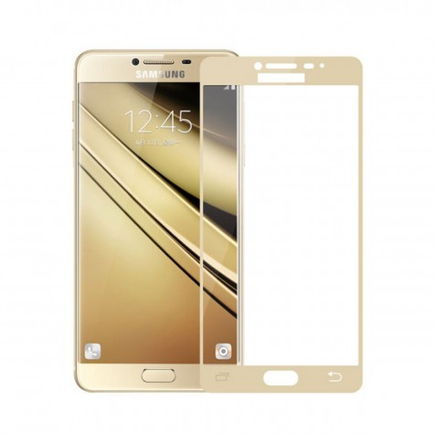 Samsung J3 2016 Gold Fullface Tempered Glass 9H Προστασία Οθόνης