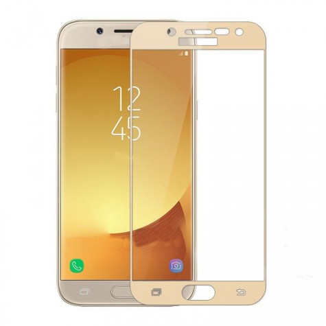 Samsung j7 2017 Gold Fullface Tempered Glass 9H Προστασία Οθόνης